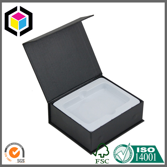 White Plastic Insert Black Color Rigid Cardboard Paper Box China