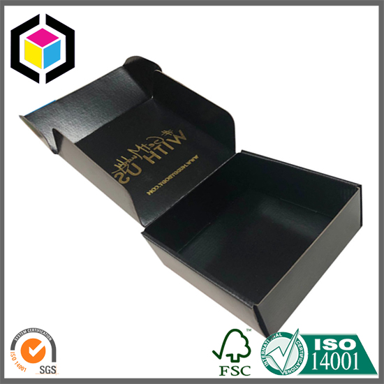 Gold Hot Stamping Black Corrugated Paper Mailer Box China