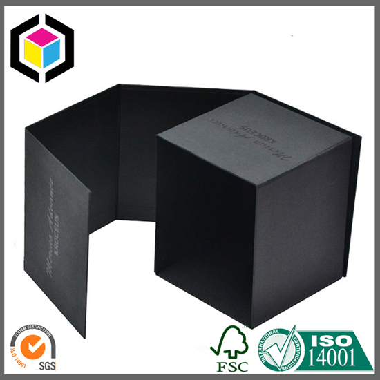 Glossy UV Logo Black Color Candle Paper Gift Box
