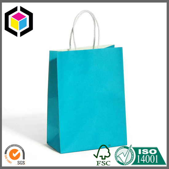 Blue Color White Kraft Paper Bag