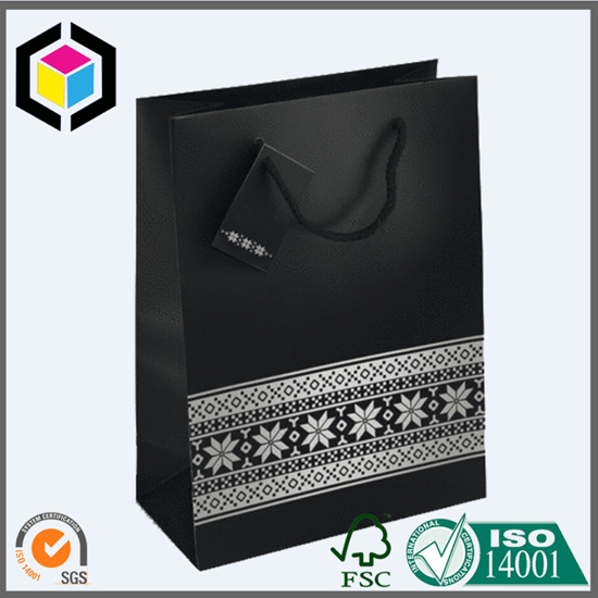 Matte Black Shopping Paper Bag