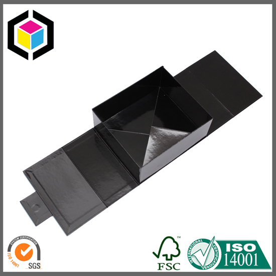 Glossy Black Color Folding Paper Gift Box