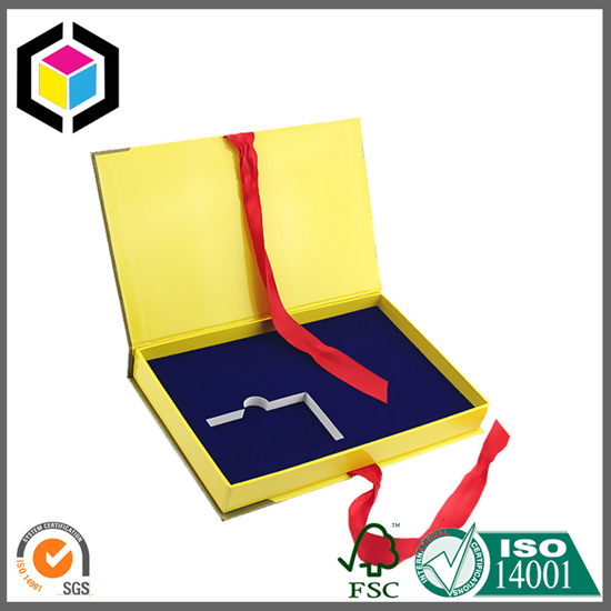 Ribbon Close Gift Paper Box with Foam