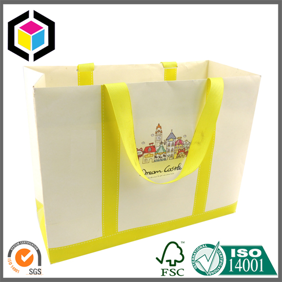 Ribbon Handle Color Print Shopping Paper Bag