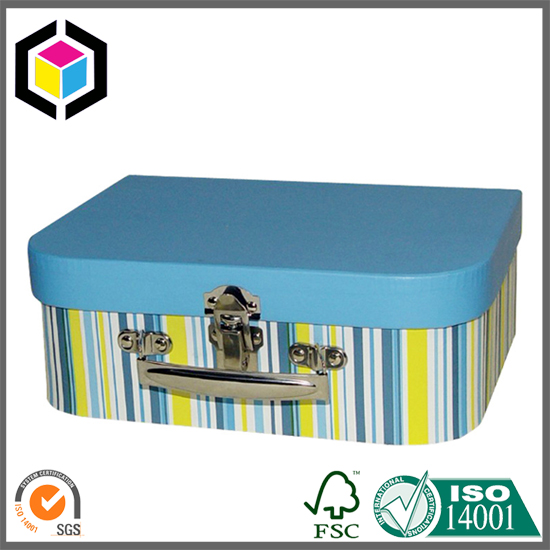 Metal Lock Suitcase Cardboard Gift Box with Custom Color Print