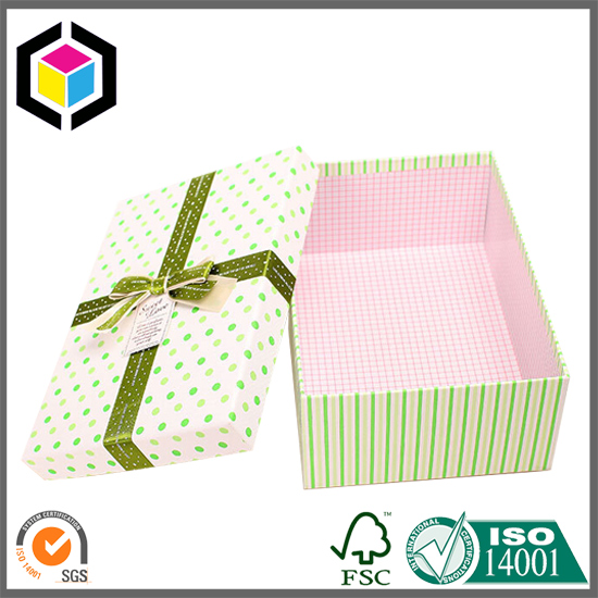 Lift Off Lid Rigid Cardboard Box for Gifts Bowknot