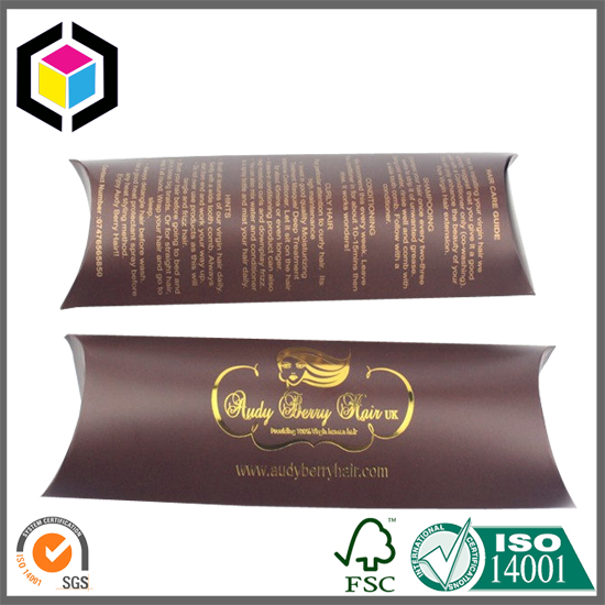 Gold Foil Print Paper Pillow Box for Hair Extension