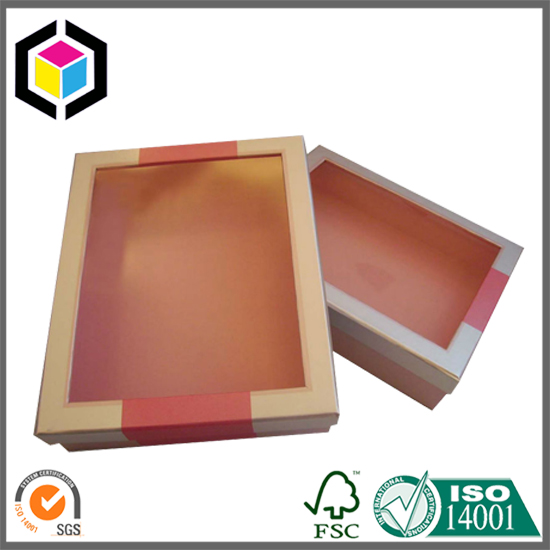 Clear Window Cardboard Paper Gift Box With Lid