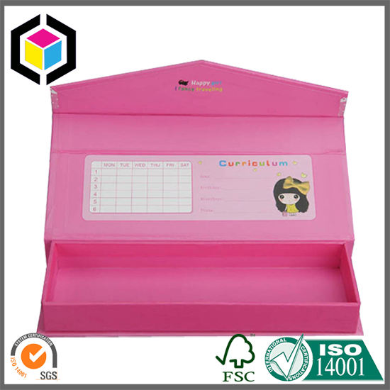 Color Printed Rigid Cardboard Paper Pencil Box with Magnet Close