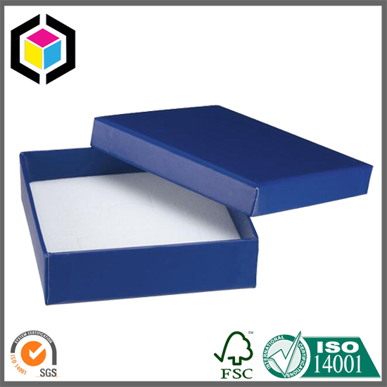 Soft Touch Foam Matte Blue Jewelry Gift Paper Packaging Box