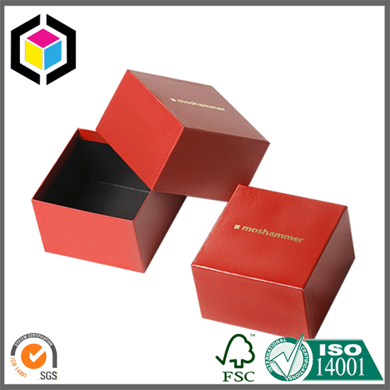 Gold Foil Logo Matte Red Cardboard Jewelry Paper Gift Box