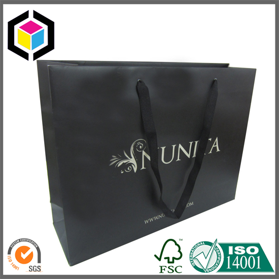 Emboss Logo Cotton Rope Handle Paper Gift Shopping Bag