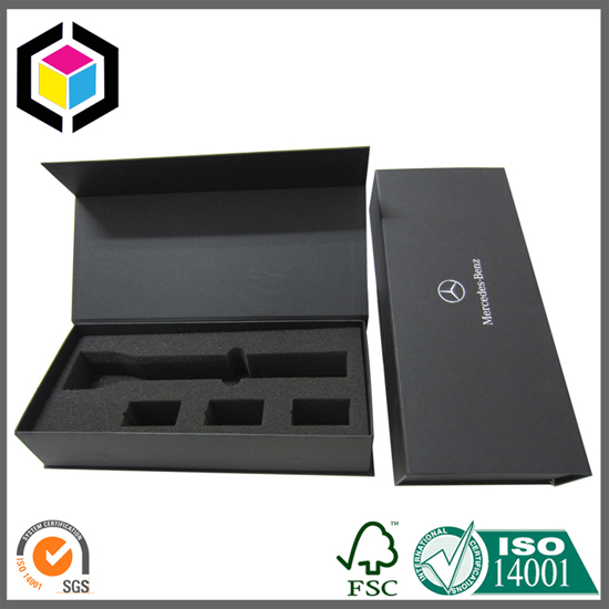 Foam Inlay Black Cardboard Paper Packaging Box for Flashlights