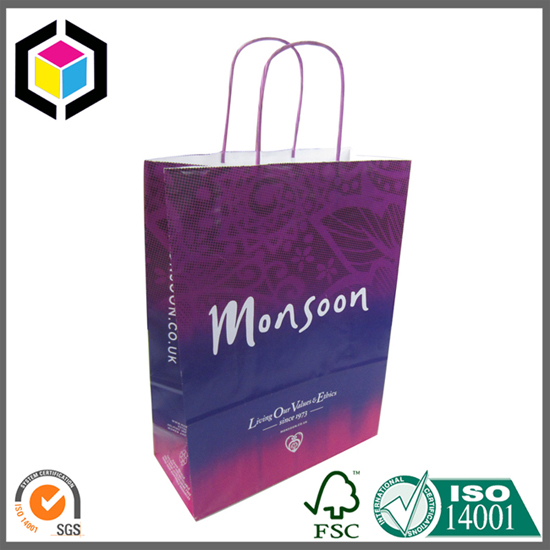 Purple Color Twisted Paper Handle Shopping Promotion Bag