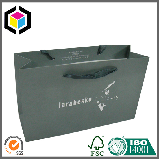 Satin Handle White Kraft Paper Shopping Bag for Garment