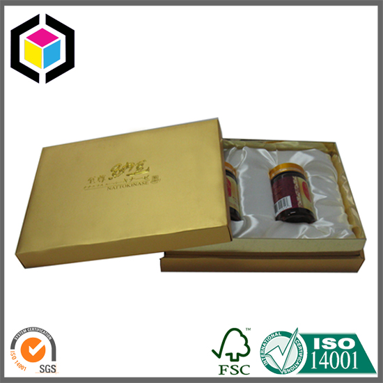 Gold color luxury paper gift packaging box for bottle negle Gallery