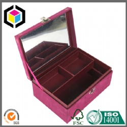 Flocking Fabric Surface Cardboard Jewelry Gift Storage Box with Mirror
