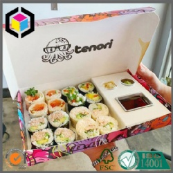 Sushi Takeout Box Made of Paper with Insert