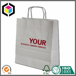 Logo Print White Kraft Paper Bag