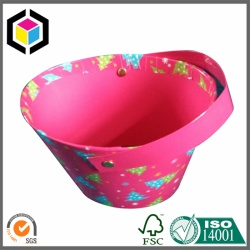 Color Print Bucket Shape Cardboard Gift Box with Handle