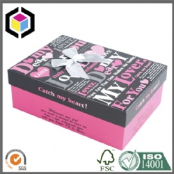 Pink Color Print Lift Off Lid Paper Gift Packaging Box
