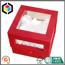 Clear Window Red Leather Rigid Paper Watch Gift Box